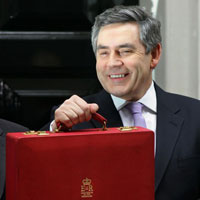 Gordon Brown before the 2006 budget. (AFP/Getty)